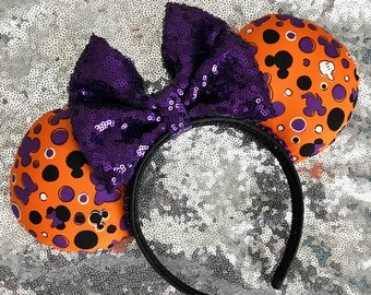 Halloween Mickey Minnie Mouse Ears Orange & Purple