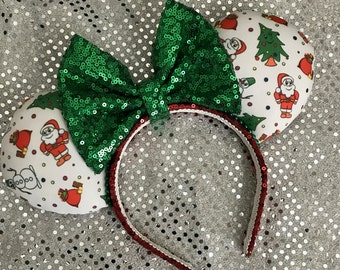 Christmas / Holiday Minnie Mickey Mouse Ears Re & Green Santa