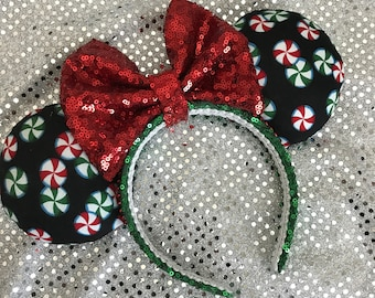 Peppermint Christmas / Holiday Minnie Mouse Ears