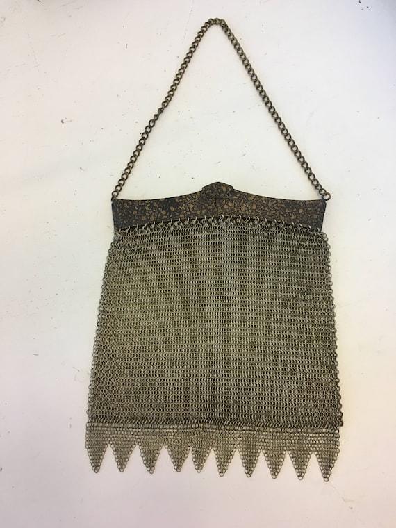 1920's-1930's Heavy Brass Metal Mesh Purse / Handb