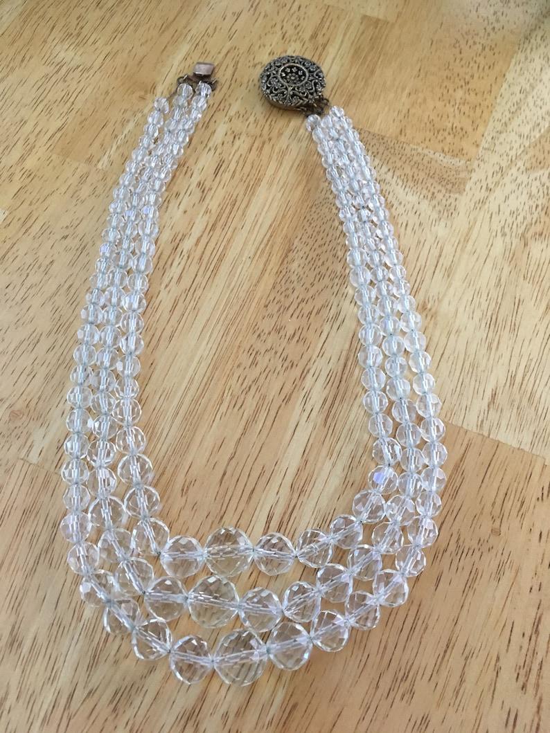 Art Deco Triple Strand Rock Crystal Necklace