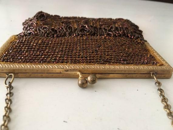 1920's-1930's Bronze, Crochet, Beaded Purse - image 4