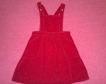 Vintage Red-Maroon Corduroy Girl's Jumper **FREE SHIPPING**