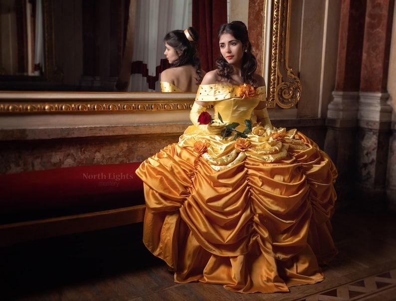 Belle Luxury Custom Cosplay Adult Belle Cosplay Costume Gold Etsy