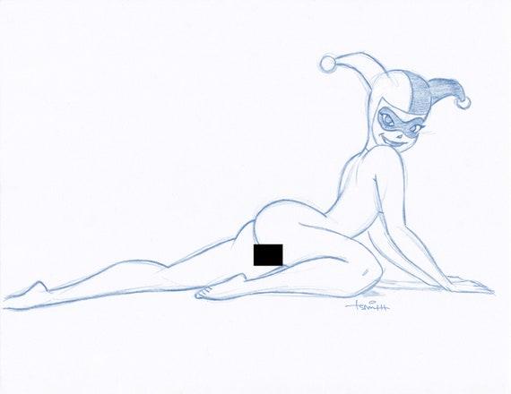 Art Drawing Harley Quinn Convention Blue Line Sketch by Batman Animator