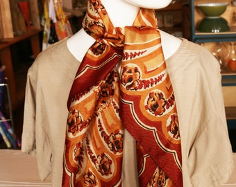 Vintage Floral Scarf. Copper Rust Colored with Flowers