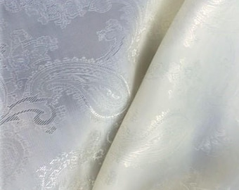 White Jacquard Polyester Lining Fabric by the yard
