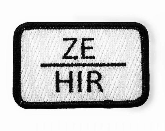 ZE HIR Non Binary Pronoun Embroidered Patch