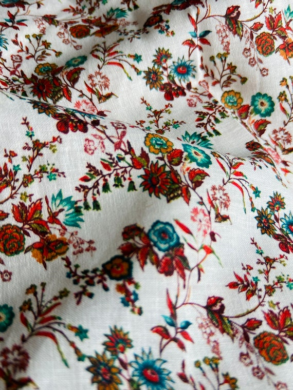 Summer Hippie Boho Bohemian Flower Linen Cotton Blend Fabric