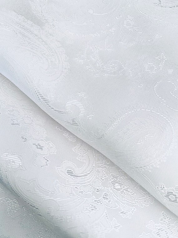 Bright White Paisley Lining Jacquard Silky Suit Formal Dress Custom Cut Fabric By the Yard