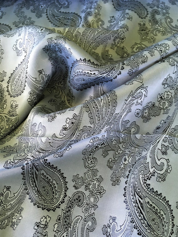 Silver Grey Paisley Jacquard Custom Suit Dress Lining Fabric By the Yard