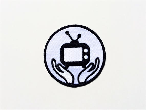 TV God, Religious icon, embroidered patch, 1984, Talking heads, Don Henley, Dirty Laundry, Fox News, Ignorance, Free Thinker