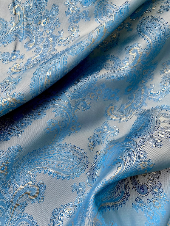 Blue Gold Paisley Slippery Jacquard Tailoring Lining Fabric by the yard