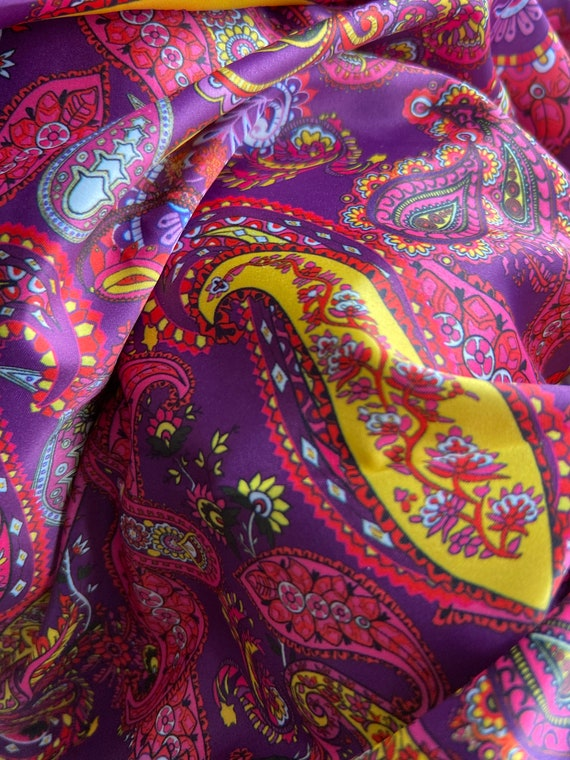 60s 70s Style Multicolor Hippie Polyester Slippery Paisley Shirt Skirt Fabric by the Yard