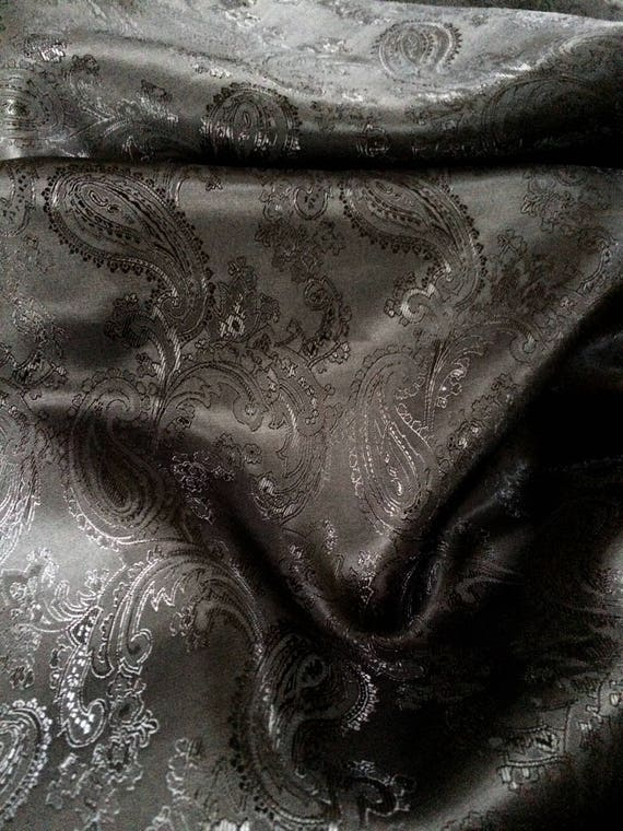 Black Poly Viscose Brocade Jacquard Paisley Fabric by the yard