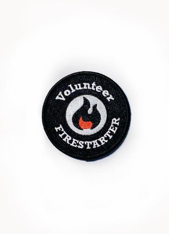 Volunteer Fire Starter, Biker Embroidered Motorcycle Patch