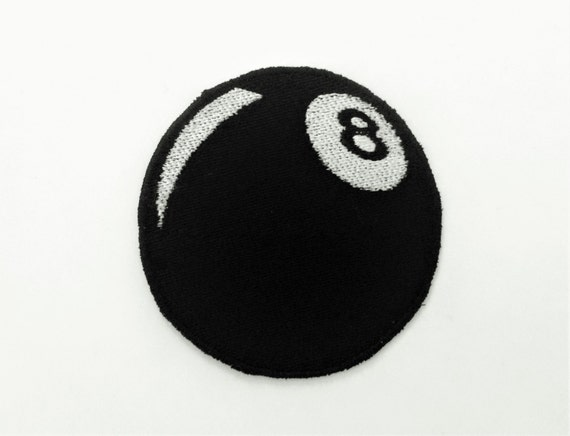 Embroidered Eight Ball Motorcycle Hipster Biker Patch