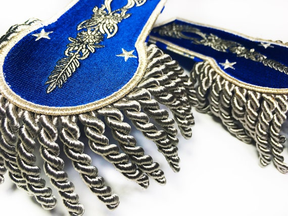 Military, Blue and Silver Embroidered Steampunk, Victorian Epaulet Epaulette  Bouillon