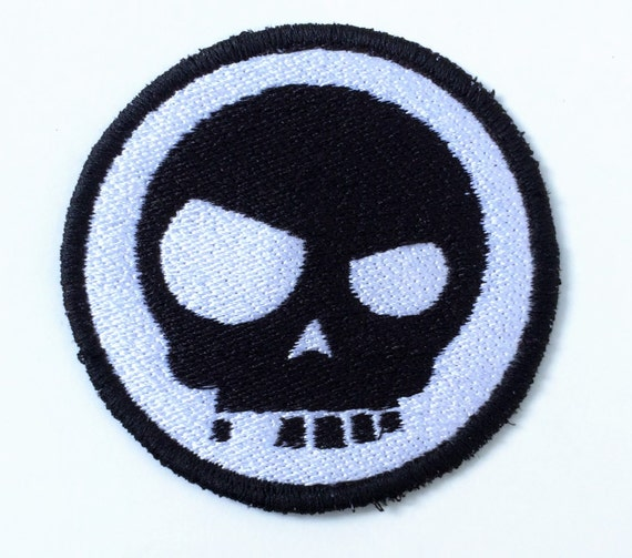 Funky Skull, Black and White Punk Emo Embroidered Iron On Motorcycle Patch