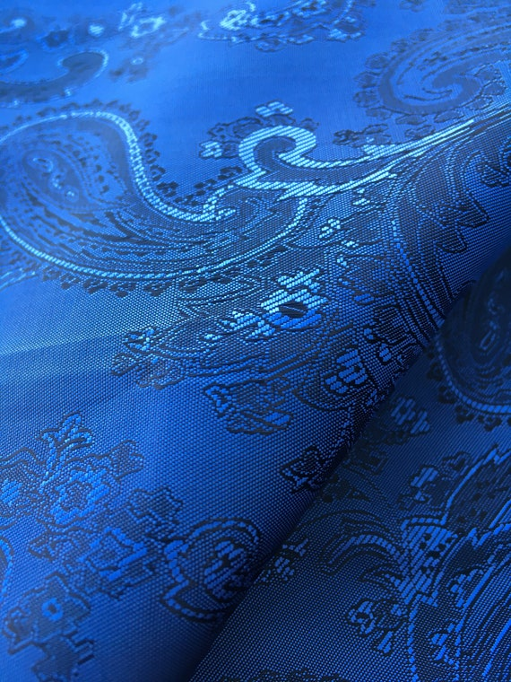 Blue Paisley Jacquard Light weight Lining fabric by the yard