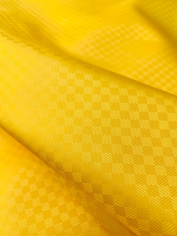Yellow Checkerboard Slippery Jacquard Lining Custom Suit Formal Funky Wear Fabric by the Yard