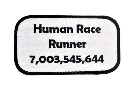 Funny stocking stuffer, gift for sarcastic people, Human Race Runner, Bumper Sticker Fusible Hippie Biker Patch, Social Commentary