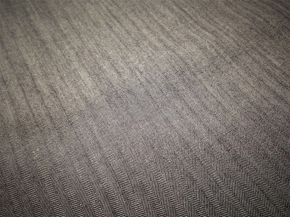 Blue Grey Herringbone Denim Fabric By The Yard