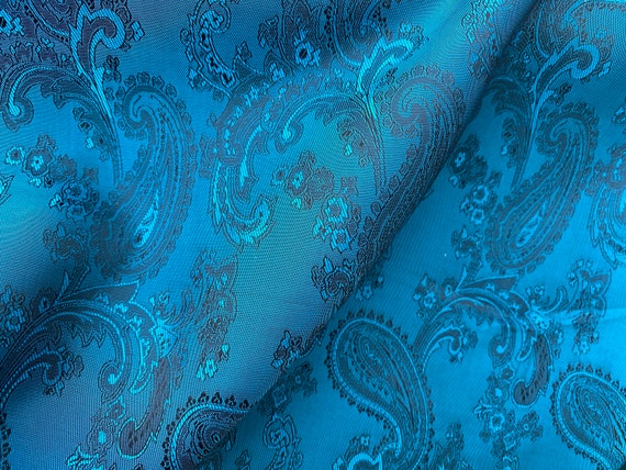 Light Turquoise Blue Paisley Brocade Slippery Jacquard Lining Custom Fabric by the Yard