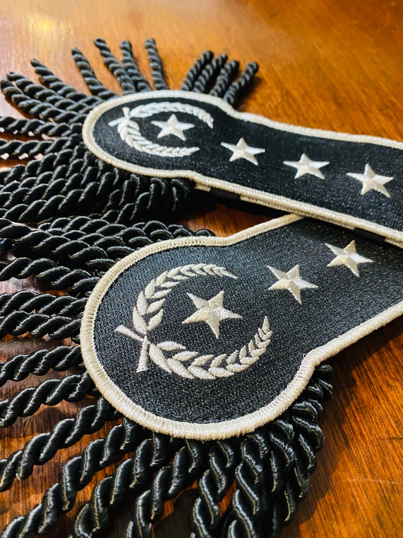 Black and Silver Star Epaulettes Black Fringe Bullion MCR Punk