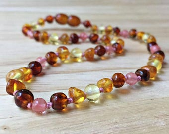 Girl's Baltic Amber Necklace - Pink Baltic amber teething necklace, amber baby necklace, girly baby gift, baby girl gift, pink baby shower