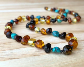 Sedona: Amber Necklace - Baltic amber necklace, turquoise and amber necklace, southwestern necklace, turquoise jewelry, baltic amber jewelry