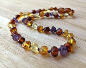 Amber Teething Necklace - Girly amber necklace, girly amber teething necklace, Baltic amber amethyst, girls amber necklace, baby girl gift