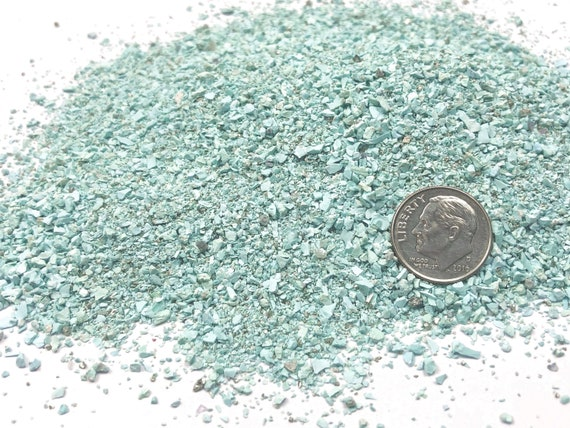 NATURAL, Crushed Campitos Turquoise for Stone Inlay, Mineral Art, or Handmade Jewelry - Medium - 1 Ounce
