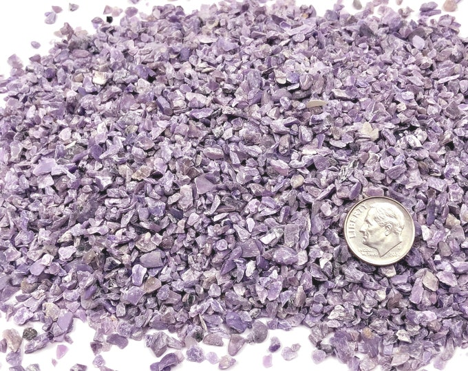 Featured listing image: NATURAL, Crushed Charoite for Stone Inlay, Mineral Art, or Handmade Jewelry - Coarse (select amount)
