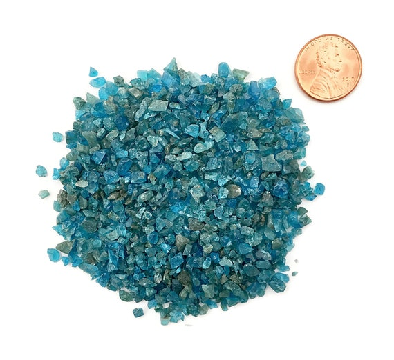 NATURAL, Crushed Blue Apatite for Stone Inlay, Mineral Art, or Handmade Jewelry - Coarse (select amount)
