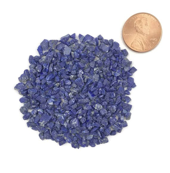 NATURAL, Crushed, Grade A Lapis Lazuli for Stone Inlay, Mineral Art, or Handmade Jewelry - Coarse, 1/2 Ounce