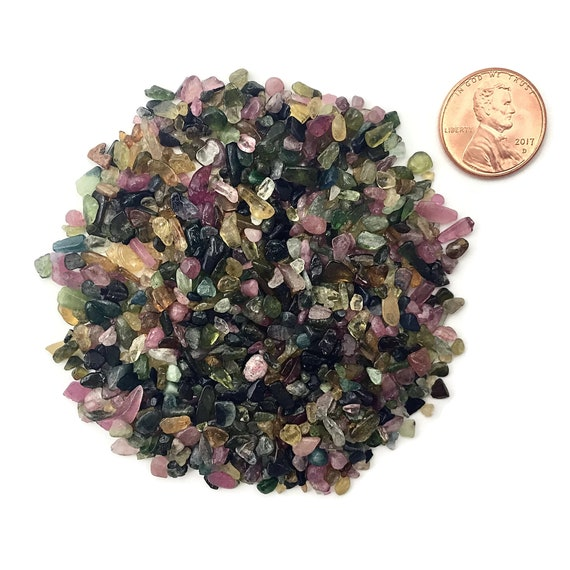 NATURAL, Tumbled Mixed Tourmaline, size from 2 to 4mm stones, 27 Grams (1 Ounce)