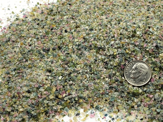 NATURAL, Crushed Rainbow Tourmaline for Stone Inlay, Mineral Art, or Handmade Jewelry - Medium (select amount)