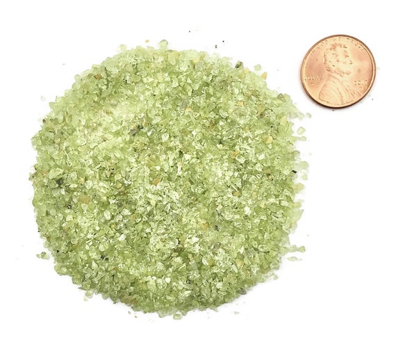 NATURAL, Crushed Peridot for Stone Inlay, Mineral Art, or Handmade Jewelry - Medium (select amount)