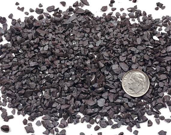NATURAL, Crushed Hematite (Grade A) for Stone Inlay, Mineral Art, or Handmade Jewelry - Coarse (select amount)