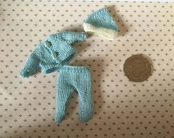 Dolls house Miniature 1/12th knitted, Baby doll pram set