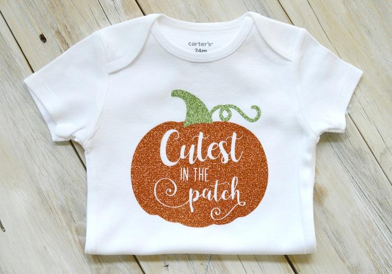 Cutest in the patch-Thanksgiving-Fall-Turkey Day-Pumpkin-Baby Girl or Boy Bodysuit-Custom Bodysuit-Baby Girl Clothing-Baby Boy Clothing