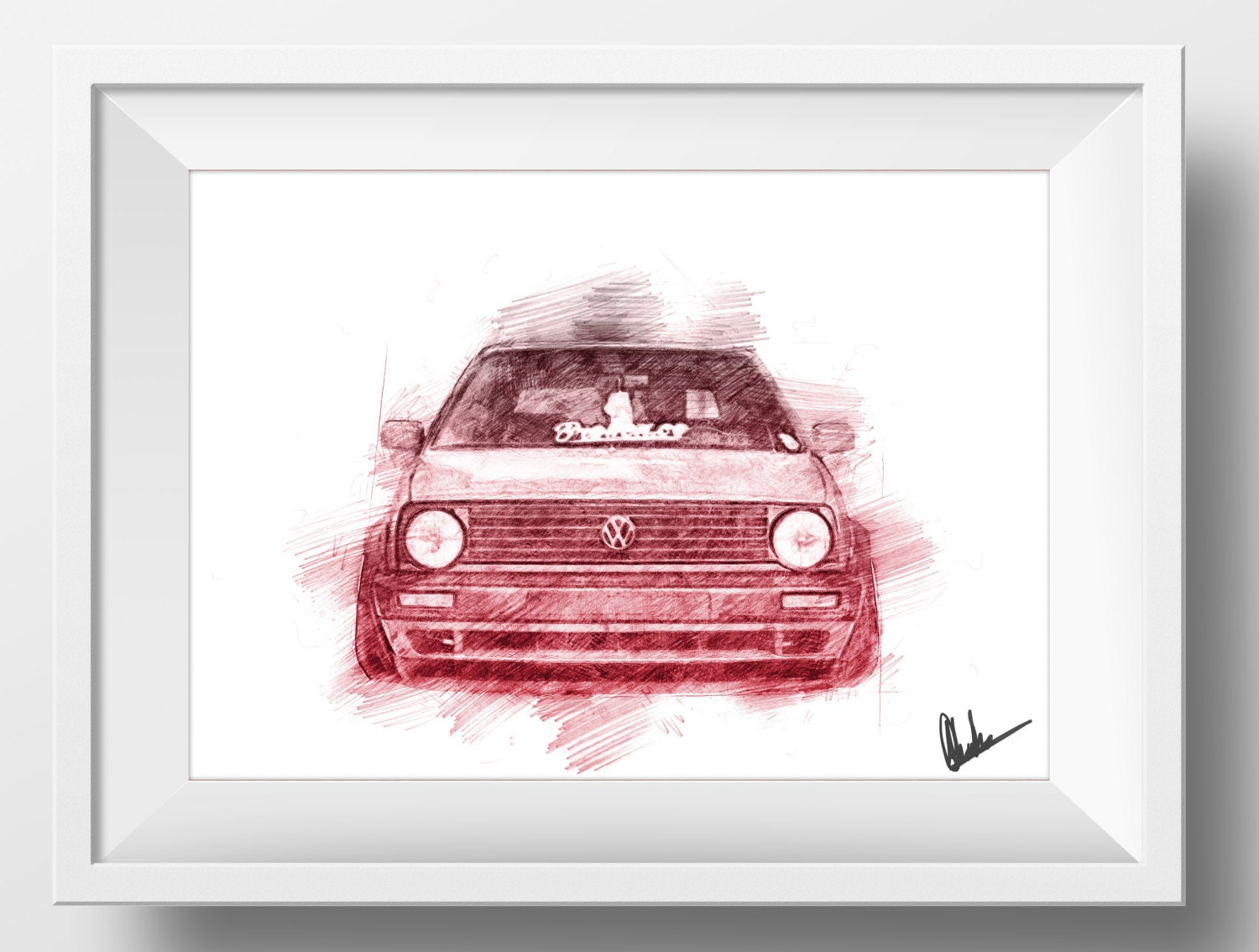 VW Volkswagen Golf MK2 GTI Sketch Drawing Poster A4 Print for | Etsy