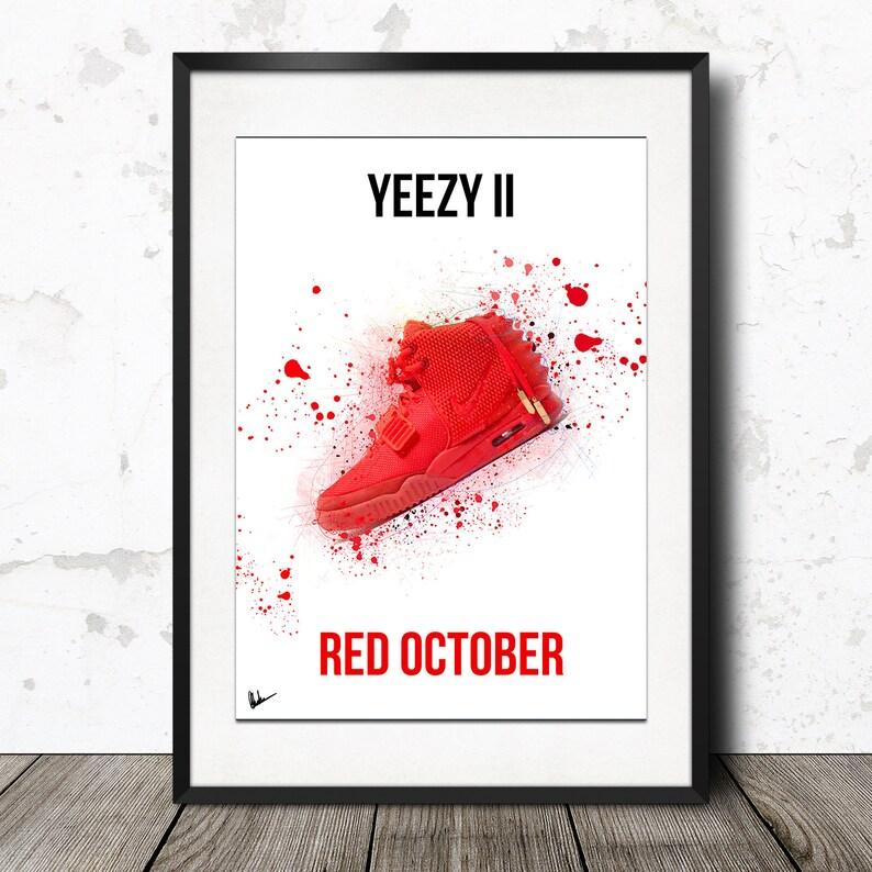 70435b22b Nike Air Yeezy 2 II Red October Poster Artwork Sneaker Print