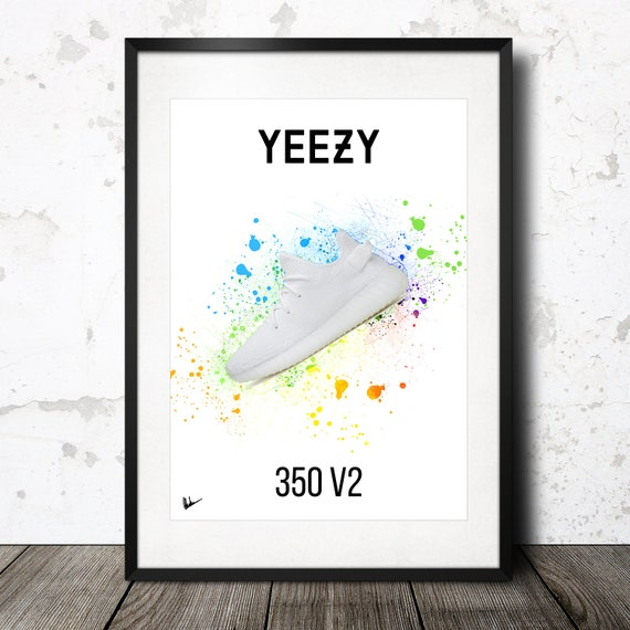 size 40 ff751 85b9e Adidas Yeezy Boost 350 V2 bianco opera Poster stampa Kanye   Etsy