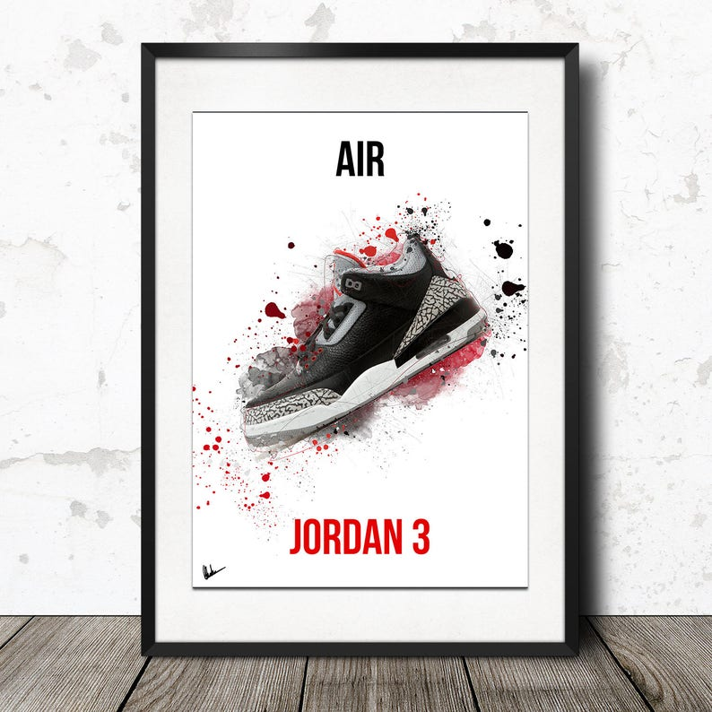 e1cee90485b18b Nike Air Jordan 3 Retro OG Black Cement Poster Print Limited
