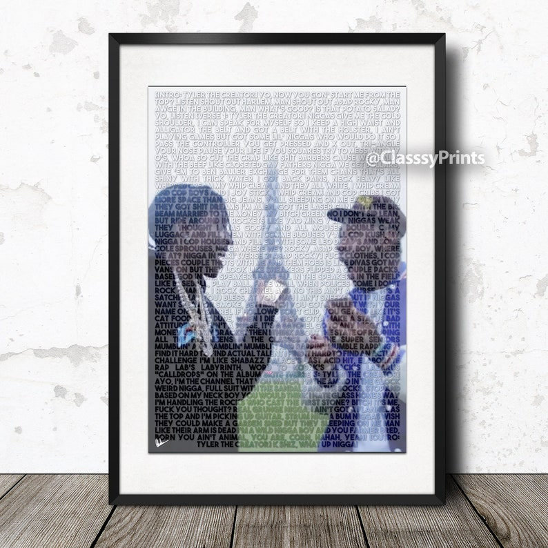 6056abd67122 ASAP Rocky and Tyler The Creator Potato Salad lyric poster