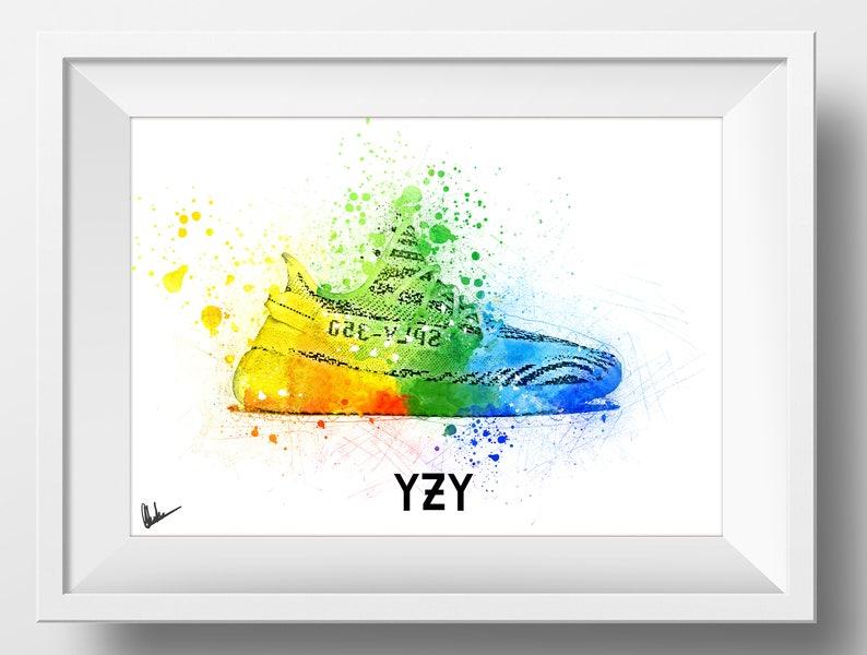04c89b604 2020 Kanye West Adidas Zebra Yeezy Boost 350 Artwork Print Hip