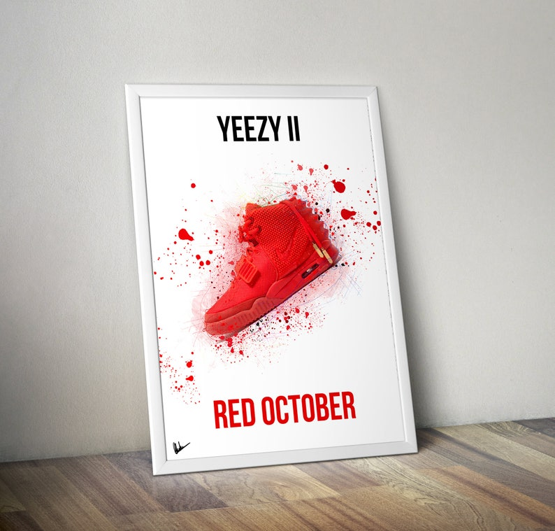 70435b22b Nike Air Yeezy 2 II Red October Poster Artwork Sneaker Print