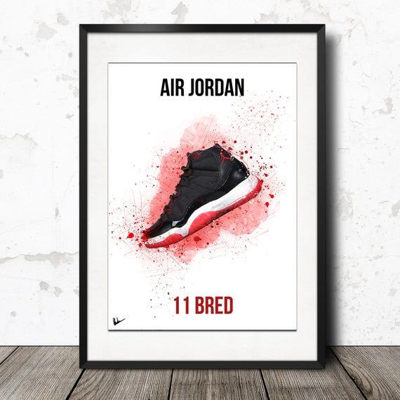 purchase cheap c719f b3822 ... Nike Air Jordan 11 Bred poster Sneaker wall artwork Limited Etsy ...